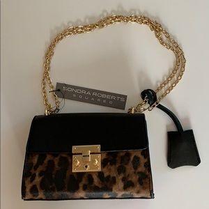 NWT-Sondra Roberts Leopard Flap Purse w chain